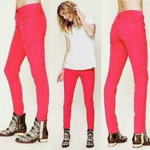 Free People Hot Pink Corduroy Skinny Pants